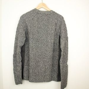 Grey Textured Cable Knit Sweater